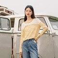 INMAN Frühling Herbst Vintage Frauen Drucken Retro Kontrast Farbe Streifen Langarm Baumwolle Basis Top Runde Kragen Weibliche T-shirt