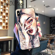 Art High cold girl pattern pritting Coque Shell Phone Case For iPhone 8 7 6 6S Plus X XS MAX 5 5S SE XR 11 11pro promax Cover shopping girl enjoying life colorful cute phone case for iphone 8 7 6 6s plus x xs max 5 5s se xr 11 11pro promax coque shell