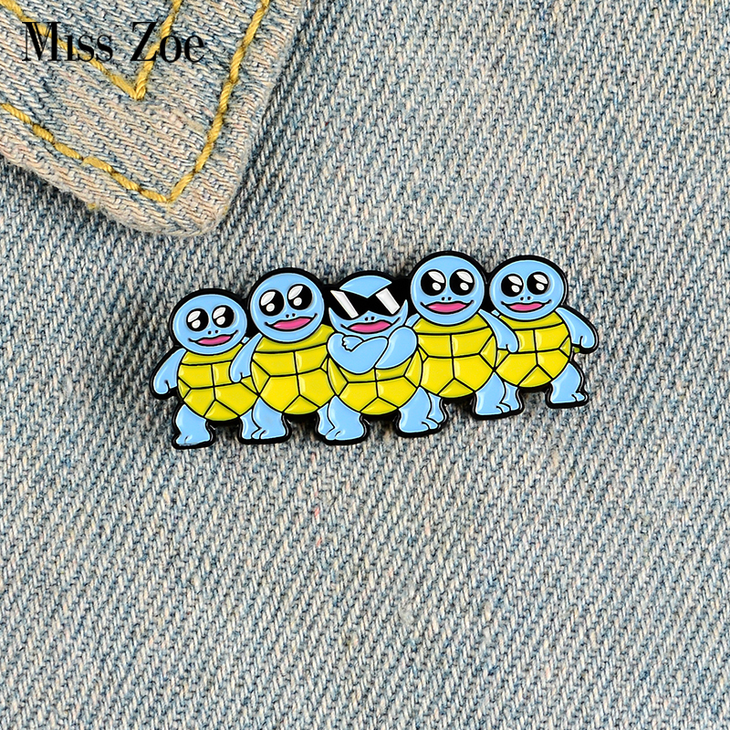 Blue Tortoise Enamel Pins Custom Cool Sunglasses Turtle Brooch Lapel Pin Bag Badge Childhood Animal Jewelry Gift Kids Friends 1