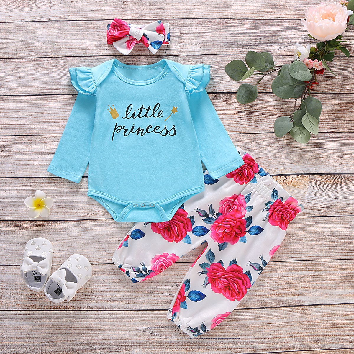 CoKate 3pcs Newborn Infant Baby Girls Clothes Romper Pant with Headband