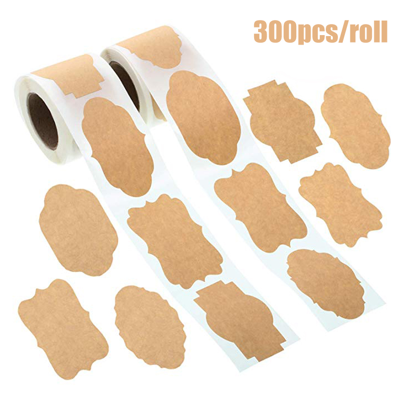 300Pcs Kraft Stickers Paper Labels Blank Christmas Gift For Jar Candle Glass Bottle Office Classification Stationery Sticker