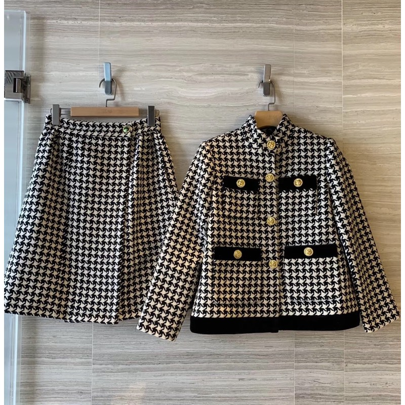 2019 Autumn Winter Houndstooth Blazer Suits Women Blazers And Jackets Single Breasted Short Skirt Office Suit Woman 2 Piece