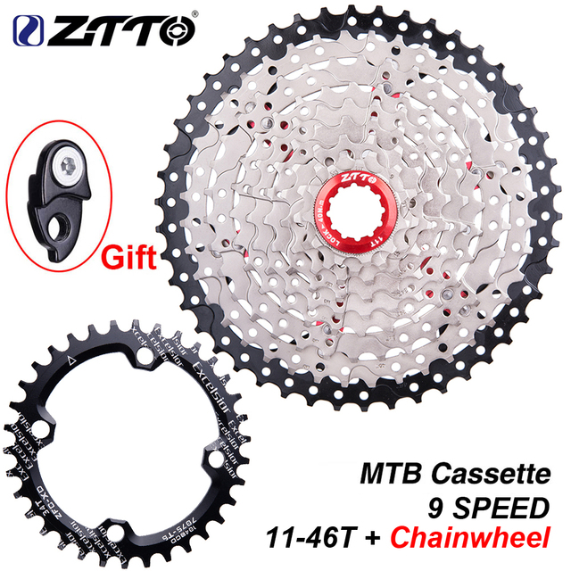 ZTTO 9 Speed 11 46T MTB Bicycle Cassette with Chainwheel Mountain Bike Wide Ratio Sprockets 9s k7 9speed Freewheel