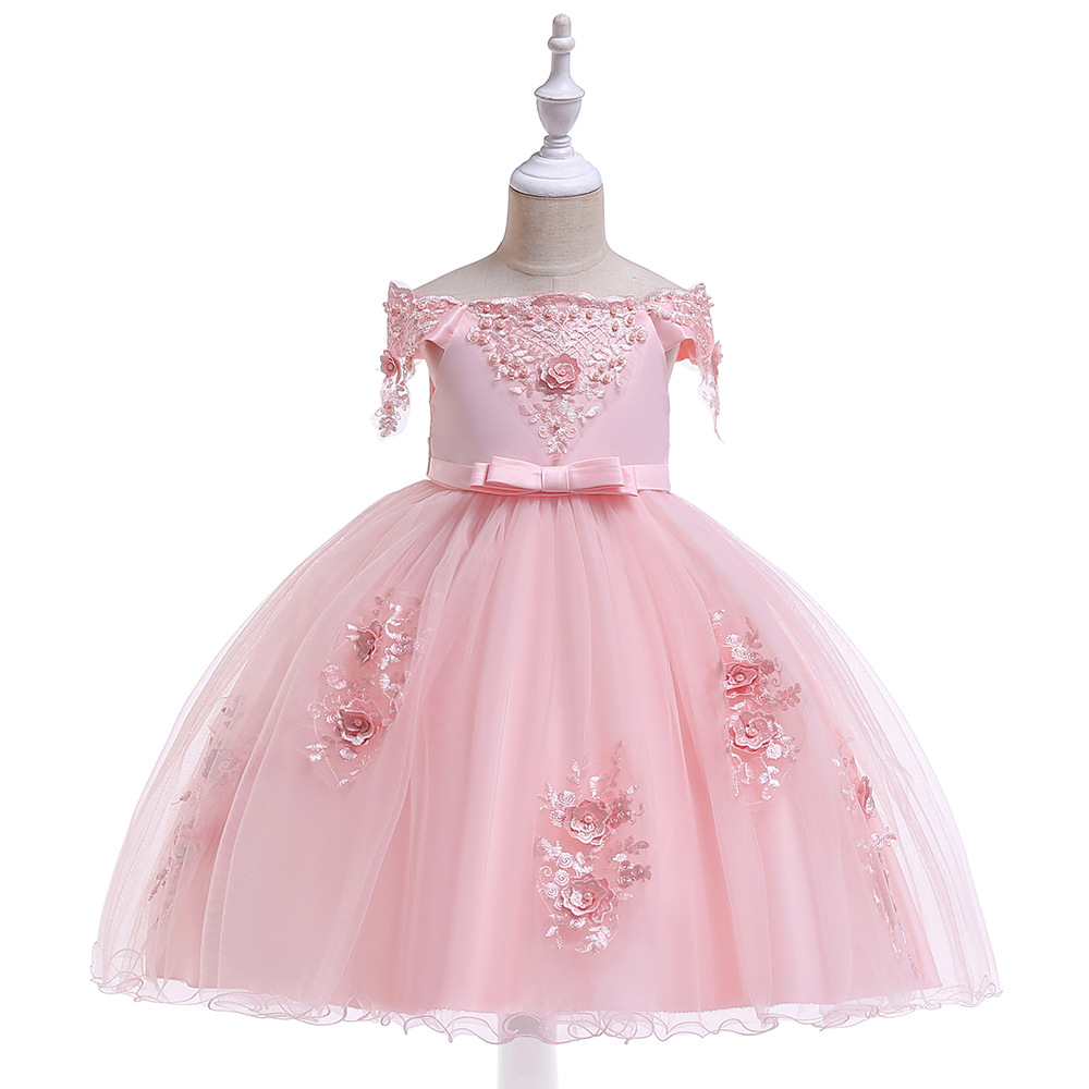 Child Formal Dress Bow Dresses Of Bride Fellow Kids Puffy Wedding Dress Beads Flower Small Host Formal Dress Off-the-Shoulder Pr