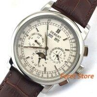 42mm herren uhr Multifunktions Mond phase display silber hand datum woche display lederband Automatische armbanduhr männer d 4-in Mechanische Uhren aus Uhren bei