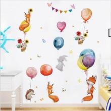 2PCS Cartoon Fox Balloon Wall Stickers For Kindergarten Children's Room Home Decoration Stickers Removable Wallpaper30*90CM*2