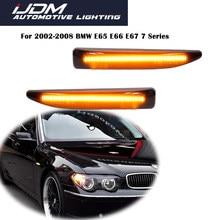IJDM для 2002-2008 BMW 7 серии E65 E66 E67 745LI 750LI 760Li B7, затемненные линзы, янтарные Светодиодные Автомобильные Передние боковые габаритные огни 12 В