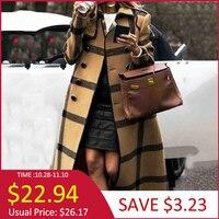 Fall Winter Women's Retro Wool blend Overcoat British Yellow Graphics Long Trench Coat Plus Size Office Ladies Overcoats 2019