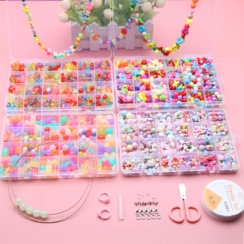 700 pcsbricolage perles filles jouets créativité couture enfants artisanat enfants Bracelets à la main bijoux mode pour fille cadeau de noël