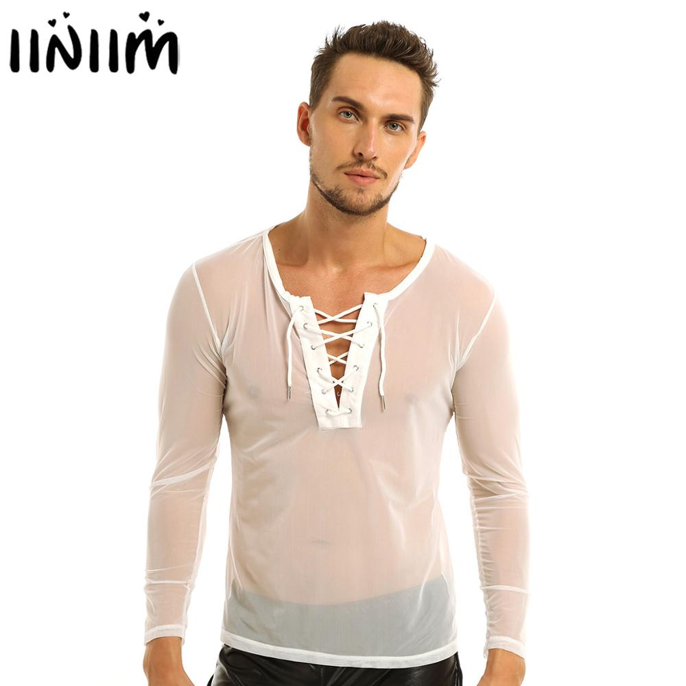 Mens Shiny Leather Shirt Clubwear Wetlook Top Tee Undershirt Halloween Costume
