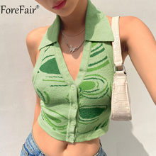Forefair 2021 Summer Y2k Halter Neck Crop Top Knit Hollow Out Print Sleeveless Backless Green Women Sexy Tank Top Casual Club