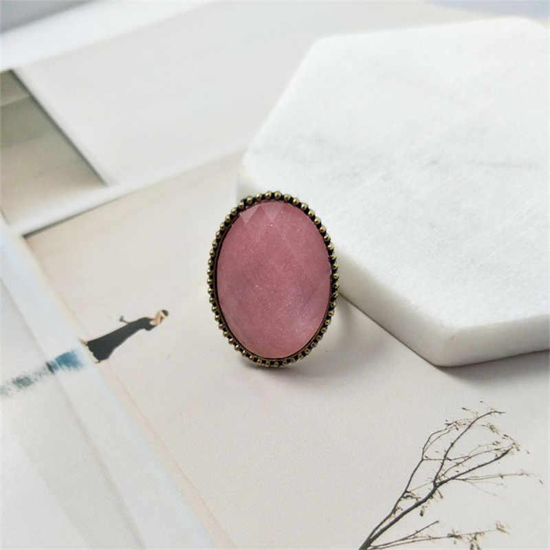 Vintage หินแหวนสตรีเครื่องประดับสีชมพู Ellipse รูปร่างแหวนแฟชั่นสีดำสีเขียวแหวนหมั้นแหวนแต่งงานแหวนสำหรับหญิงของขวัญ