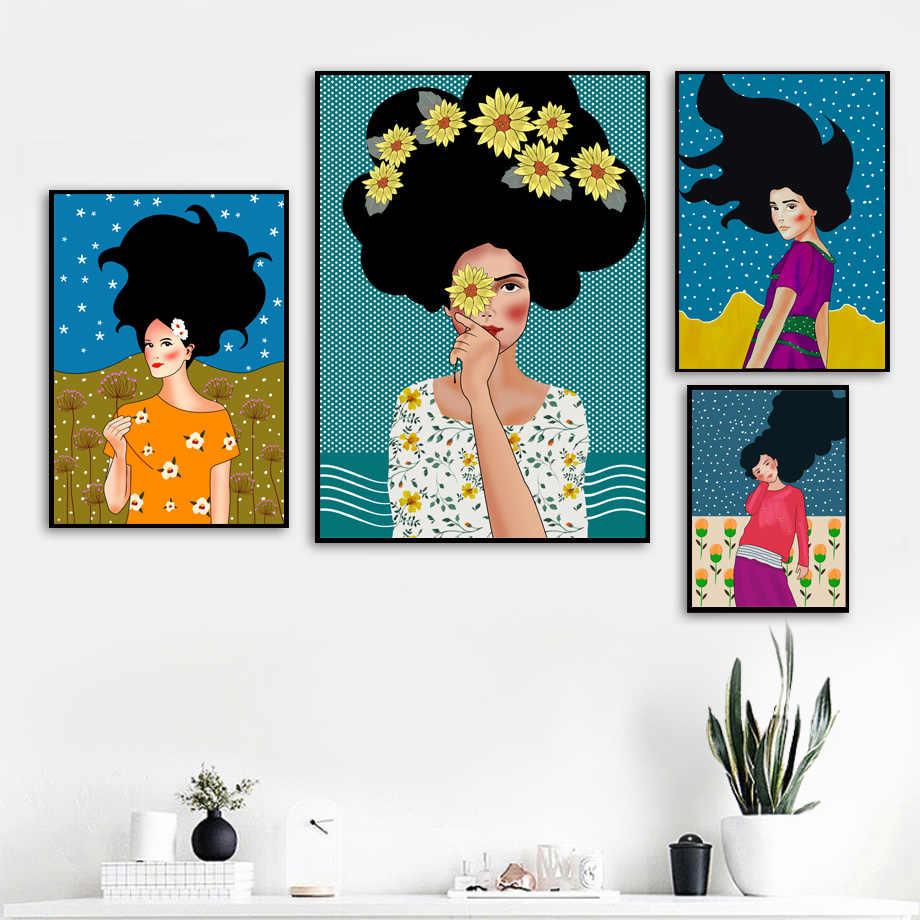 Абстрактная живопись мода девушка винтажная настенная живопись холст плакаты на скандинавскую тему и принты настенные картины для декора гостиной