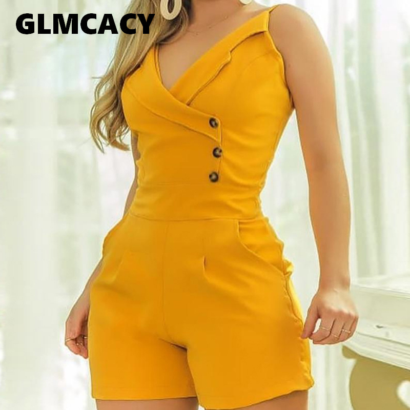 Women Casual V-neck Sling Button Playsuits Summer Sexy Solid Spaghetti Strap Buttoned Romper Female Streetwear Playsuit