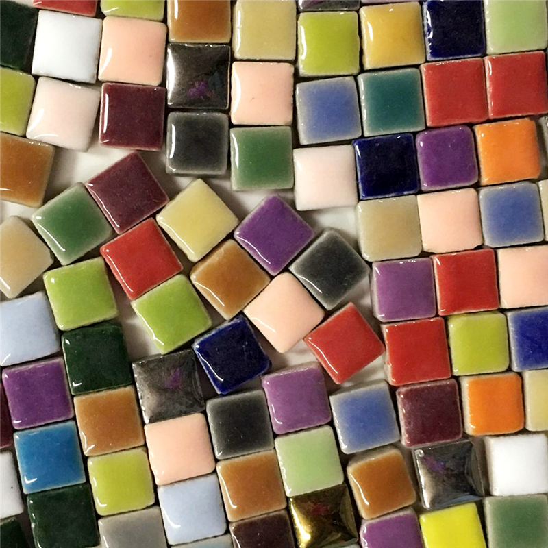 100g diy cerâmica mosaico telhas de vidro espelho artesanal ornamentos telhas parede artesanato cristal colorido para materiais decorativos