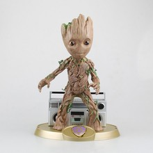 цена на 24cm Marvel Anime Guardians of the Galaxy Groot Tree Man with Radio Music Box  Verison Action Figure Toys