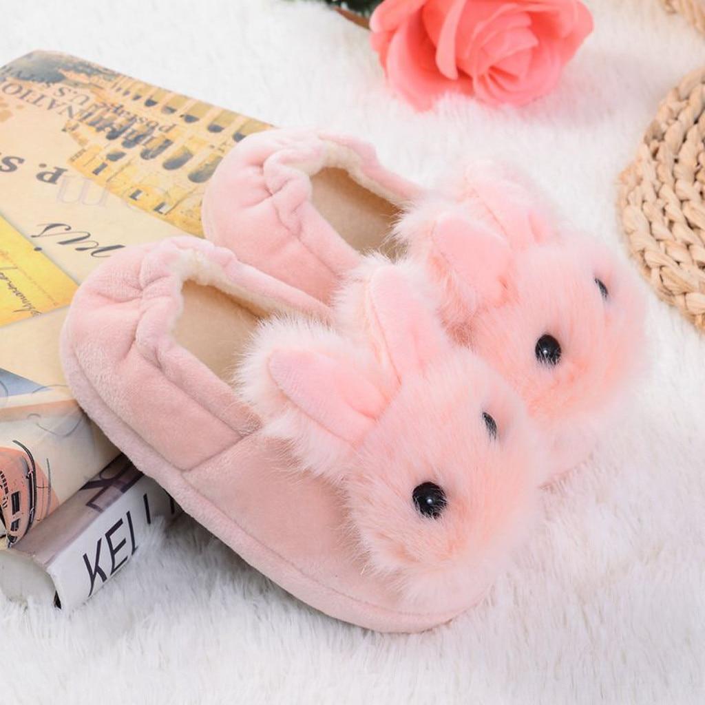 H9e8c326afc4b4014968eb7fe03a2ad11Y Sapatos para crianças de algodão, sapatos para crianças meninos e meninas de outono, chinelos fofos com orelhas de coelho, espessamento de bola, sapatos internos