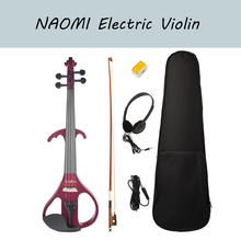 NAOMI Silent Electric Solid Wood Violin 4/4 Size Violin Active Pickup Red Color With Violin Case Bow Rosin