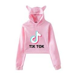 2019 w nowym stylu Tik Tok Douyin luźne i Plus-size kocie uszy damska sukienka z kapturem z pępkiem 2
