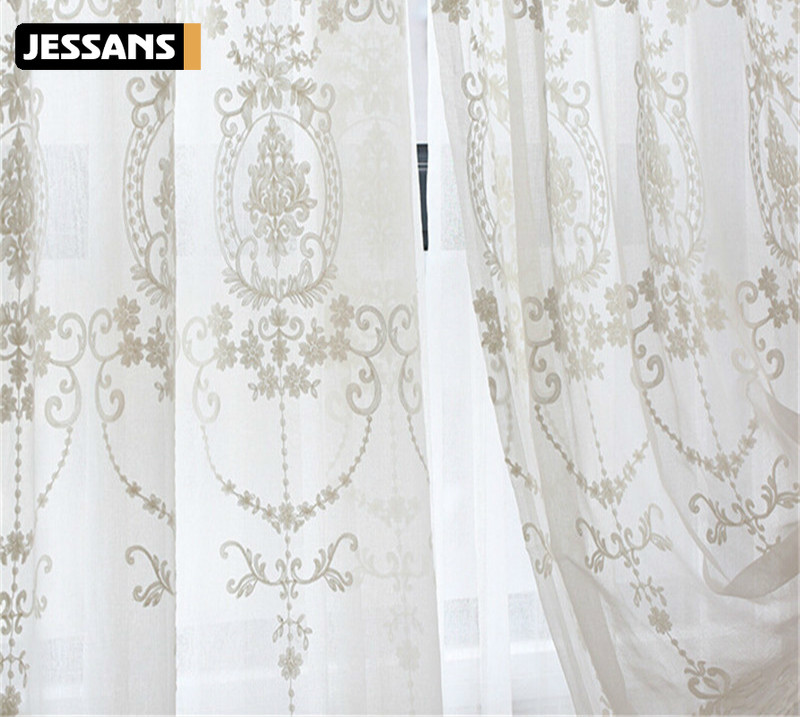 European Voile Sheer Curtains for Window Bedroom Lace Curtains Fabrics Drapes Embroidered White Tulle Curtains for Living Room