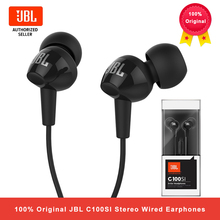 JBL C100Si 스테레오 유선 헤드폰 딥베이스 뮤직 스포츠 3.5mm 헤드셋 이어폰 형 이어폰 (마이크 포함)