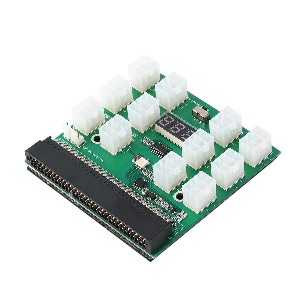 Tüketici Elektroniği'ten Pil Aksesuarları'de 12V çıkış 12 Port 6Pin PCI E kesme panosu LED dijital ekran 1200 W/750 W GPU madencilik güç tedarik title=