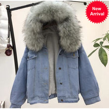 Jacket Women's Denim With Fur Winter Jeans Hooded Velvet Coat Female Faux Fur Collar 2020 Padded Warm Jackets Bomber Windbreake(China)