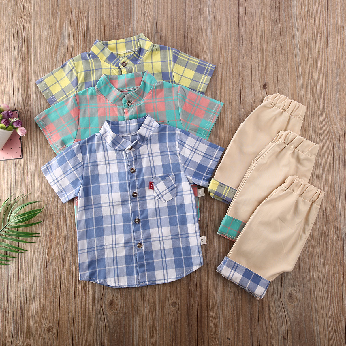0-3Y Summer Toddler Baby Boy Outfits Clothes Sets Plaid Print Tops Shirt Shorts Pants Gentleman Party Suit