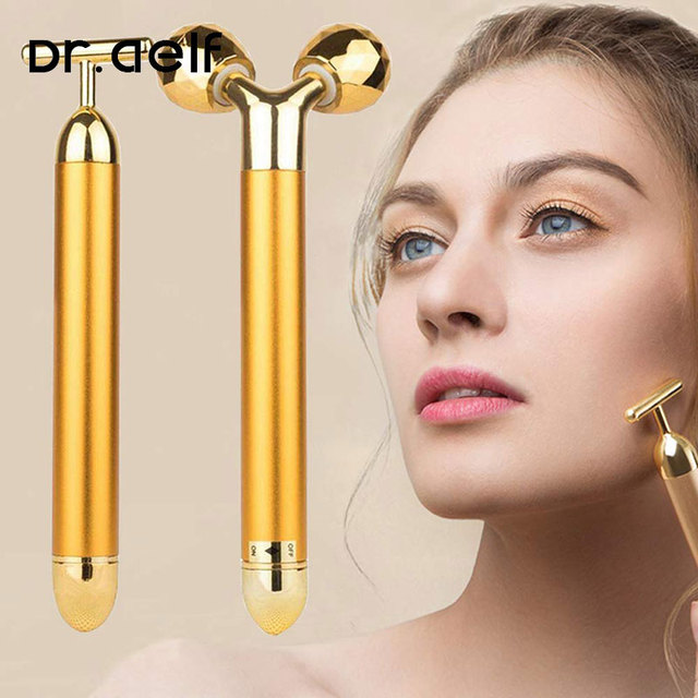 2 in1 face roller massager slimming face rolling 24k gold color vibration face facial massager bar skin wrinkle lifting bar