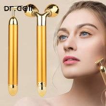 2 in1 gezicht roller massager afslanken gezicht rolling 24k gold kleur trillingen gezicht facial massager bar huid rimpel lifting bar