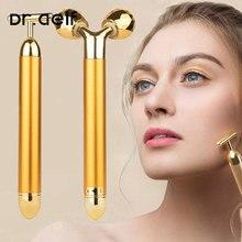2 in1 rosto rolo massageador emagrecimento rosto rolando 24k cor do ouro vibração rosto facial massageador barra de levantamento do enrugamento da pele