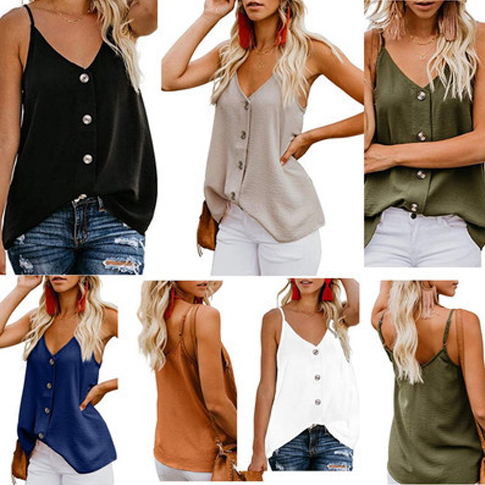 Summer Sexy Spaghtti Strap Blouse Women 2020 New Casual Tops Sleeveless Buttons Adjustable V Neck Ladies Chiffon Blouses