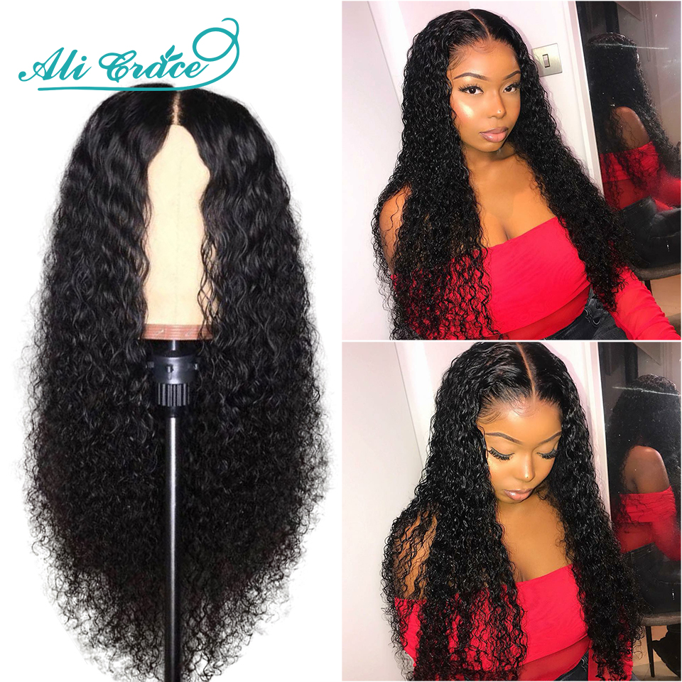Ali Grace Wig Front-Wigs Human-Hair Natural 250%Density Malaysian Hairline Curly Pre-Plucked
