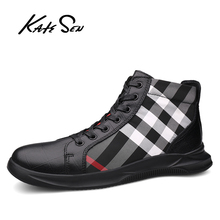 Buy KATESEN Men shoes leather fashion High Tops Male shoes Luxury Brand mens casual sneakers waterproof lace up Flats solid shoes directly from merchant!