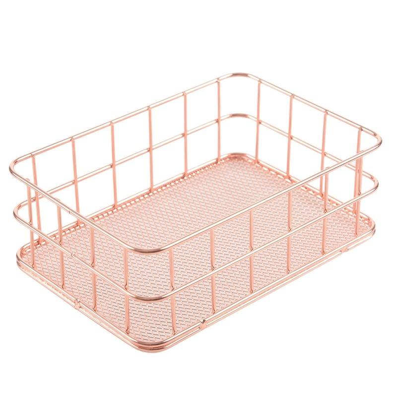 Storage Basket metal Wire Bathroom Shelves Makeup Organiser Rose Gold Brush Pen Holder Wire Mesh Bathroom Toiletries Storage Bas