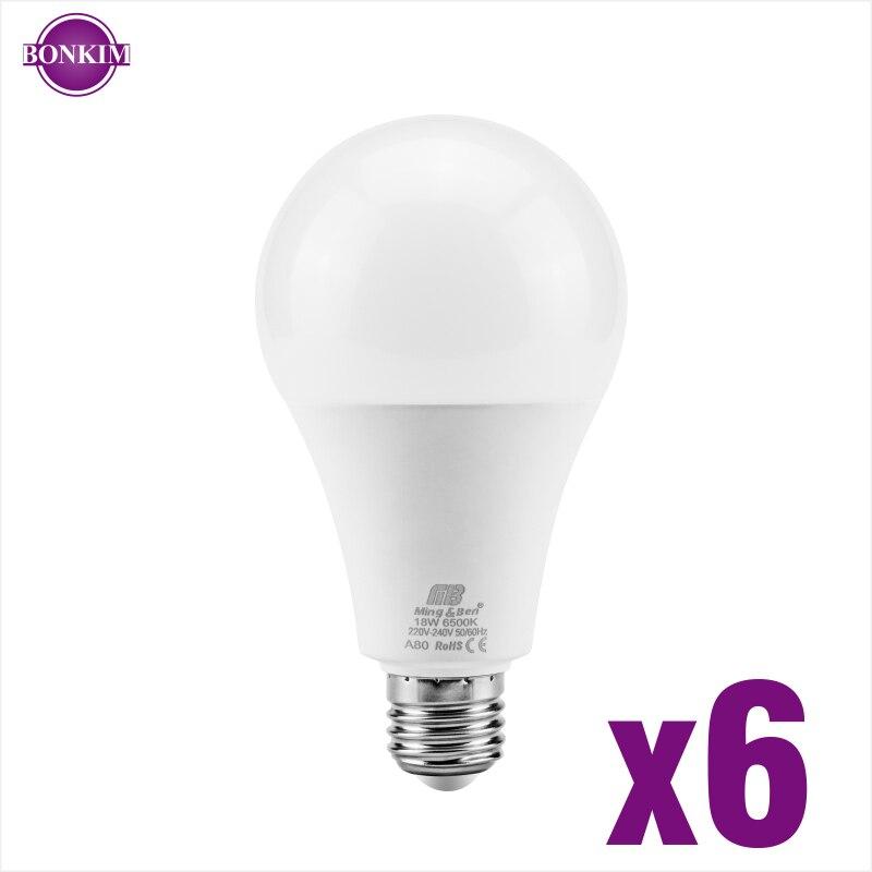 6pcs LED Bulb Light E27 E14 3W 5W 7W 9W 12W 15W 18W AC220V Smart IC LED Bulb Cold White Warm White Lampada Ampoule Bombilla Lamp
