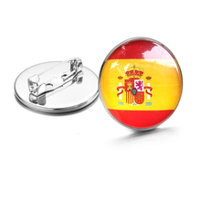 Coat of Arms of Spain/Spanish Flag National Emblem Brooch/Badges/Lapel Pins Crystal brooches badge Glass Dome Pins For Kid Gifts