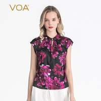 Voa Silk Black Purple Flower Dyeing Cheongsam Collar Leakage Shoulder Sleeve Literary Loose T shirt Bh73 Women T Shirt