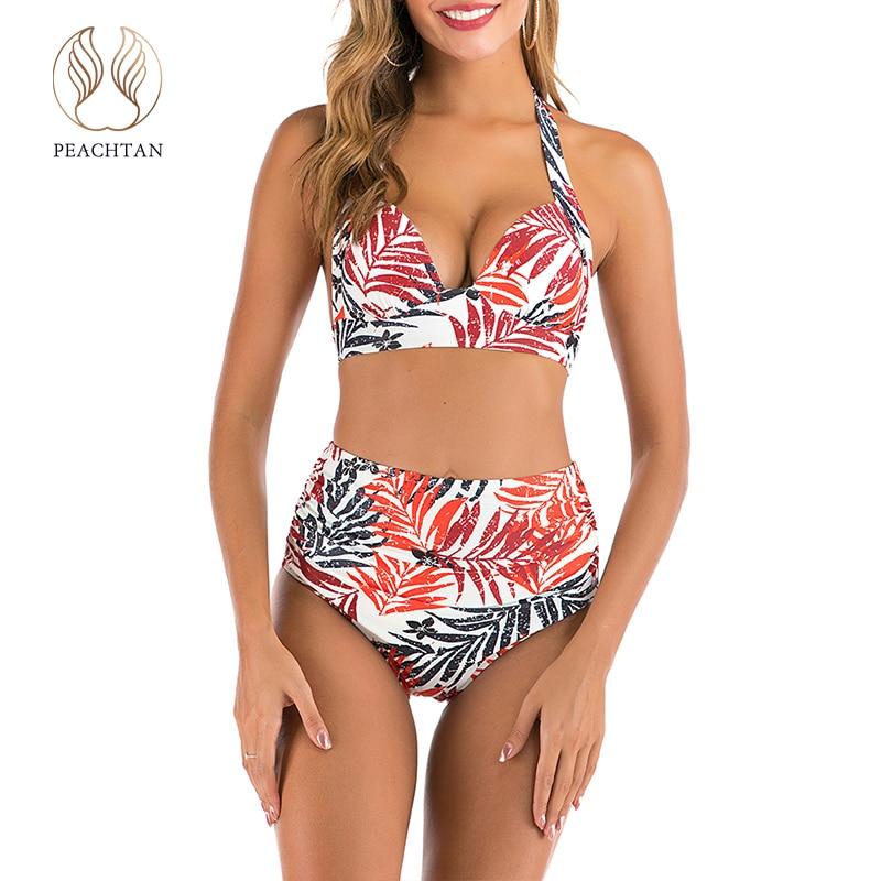 Peachtan Sexy Leaf Print Bikini Set 2020 Triangle Push Up Swimsuit Female Halter Swimwear Women High Waist Bathing Suit Biquini
