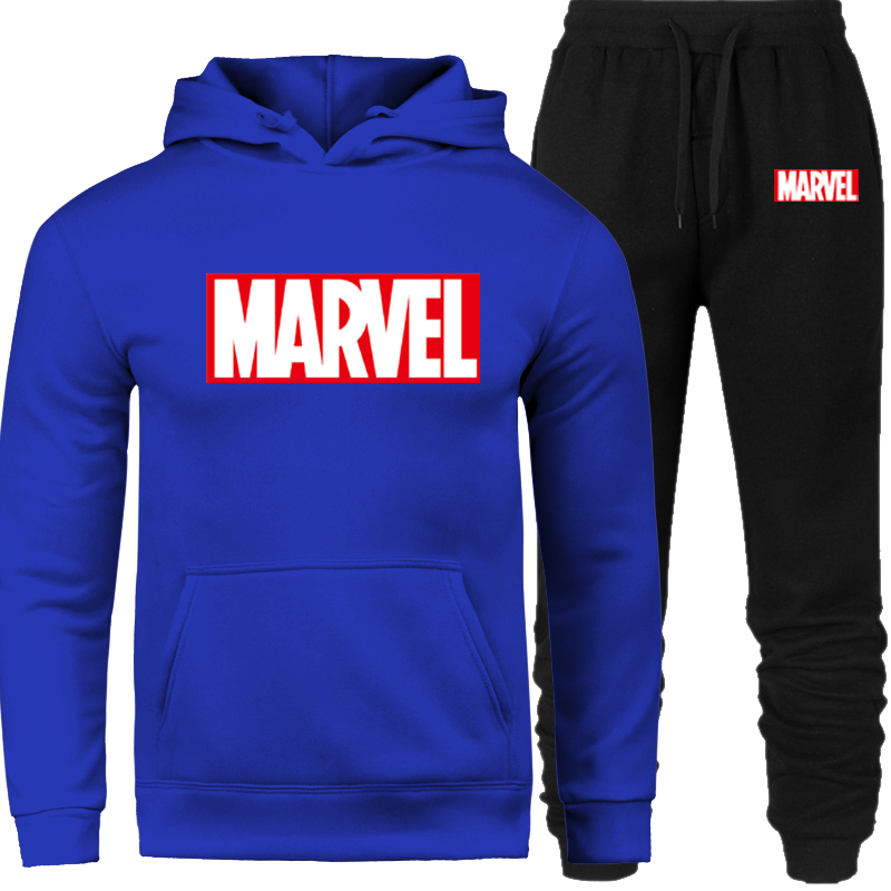 Jacket+pants Sweatshirts Sporting Tracksuit Set Winter Fleece Hood Print Marvel Male 2 Piece Sets Hoodies Suit Coat 2019 Brand