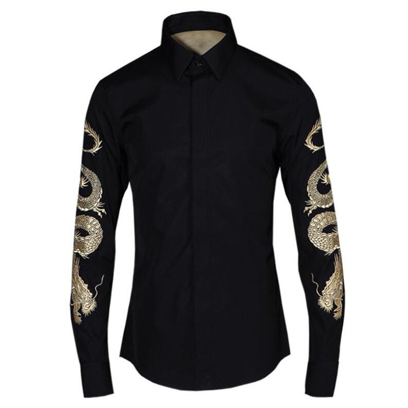 Luxury Golden Dragon Embroidery Shirts Men Slim Body Cotton Shirt Turn Down Collar Fashion Basic Shirts M-4XL Casual Clothing