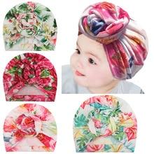 Hat Headwear Hair-Accessories Turban Flower Toddler Newborn Baby-Girls Knot Printed Infant