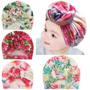 Милая шляпа с цветочным принтом, 1 шт., шапочки для новорожденных, шапочки для малышей, тюрбан для маленьких девочек, шапка головной убор пода...