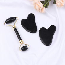 Facial-Massage-Roller Skin-Care Obsidian-Stone Double-Heads 1set Natural