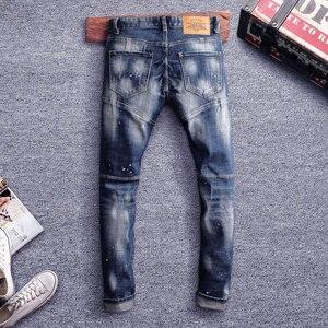 Image 5 - Pantalones vaqueros de estilo italiano para hombre, Vaqueros ajustados con empalme de diseño, rasgados, estilo Hip Hop, ropa de calle, vaqueros de motorista, 2020