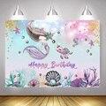 Фон для фотосъемки новорожденных с изображением русалки на день рождения