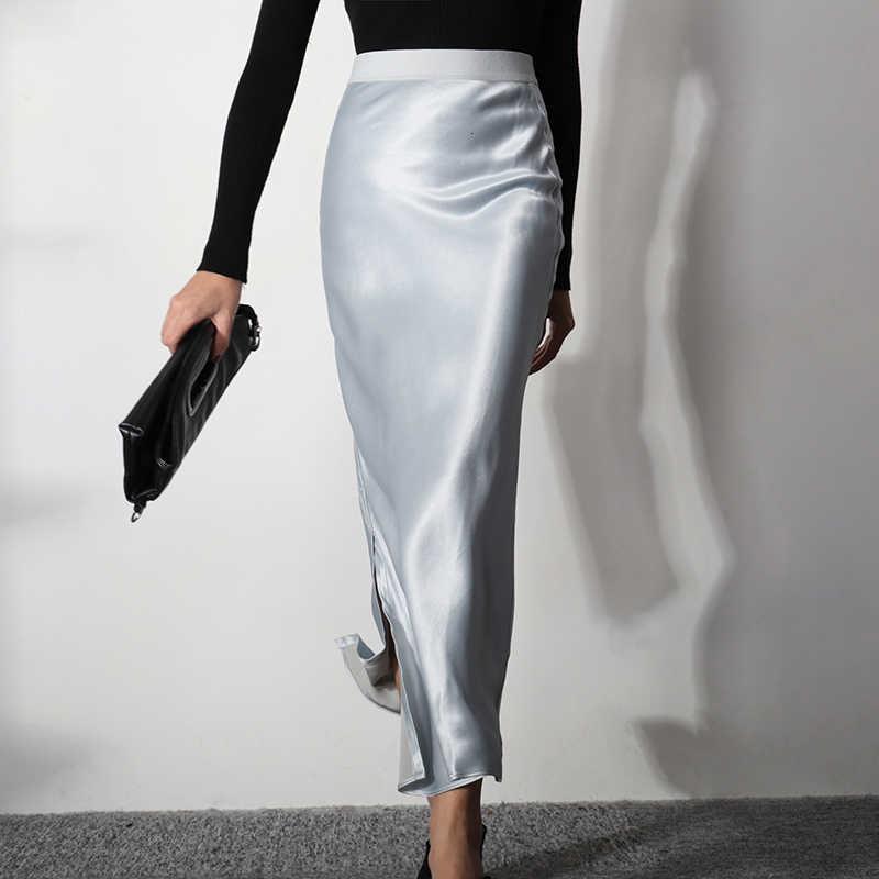 Lanmrem 2020 Winter Satin Matte Rok Sexy Pakket Hip Hoge Taille Was Dun Temperament Elegante Licht Gekookt Rok PC318