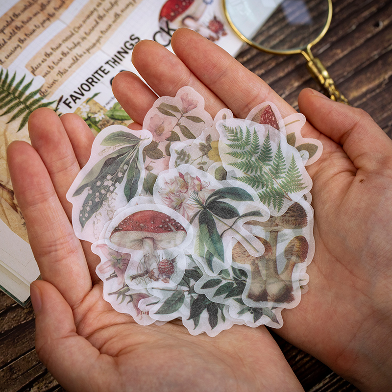 50pcs/pack Cute Vinatge Stickers Kawaii Plant Decoration Diy Diary Scrapbooking Label Stickers Stationery School Supplies