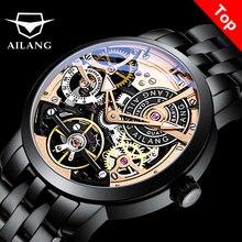AILANG OriginalนาฬิกาอัตโนมัติTourbillonนาฬิกาข้อมือนาฬิกาผู้ชายMontre HommeหนังนักบินDiver Skeleton 2019