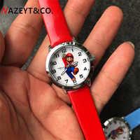 Reloj de cuarzo con dibujos animados de Super Mario para niños y niñas, cronógrafo de dibujos animados, regalo de cumpleaños, 1 Uds.